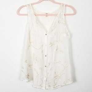 Anthropologie Tiny Embroidered Button Down Blouse